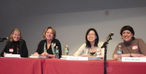 Lita Judge, Sarah Pennypacker, Grace Lin, and Elise Broach participate in a PAL event at the Eric Carle Museum of Picture Book Art