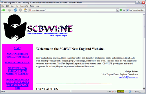 The first SCBWI New England website